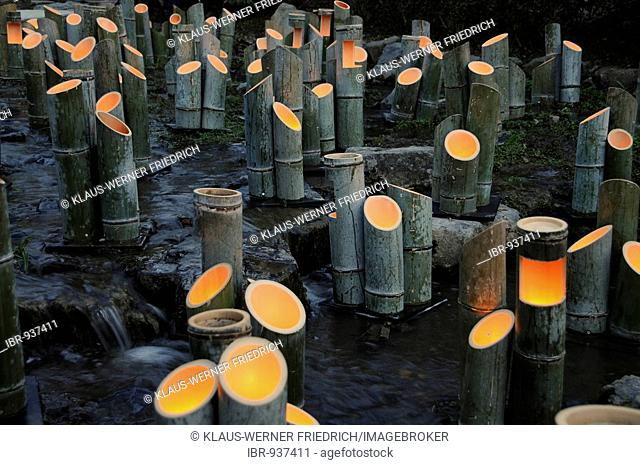 Bamboo lamps, light art, in a stream in Maruyama Park, Kyoto, Japan, Asia