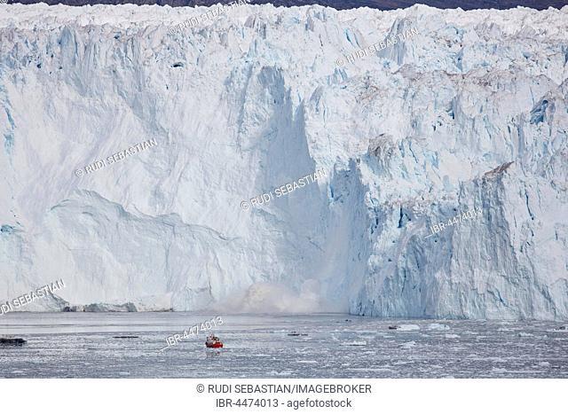 Eqi glacier, break-off edge with tourist boat, Disko Bay, West Greenland, Greenland