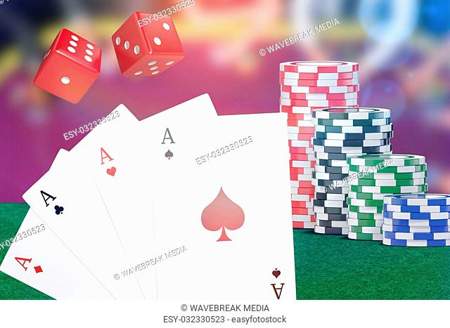 Composite 3d image of digital image playing cards