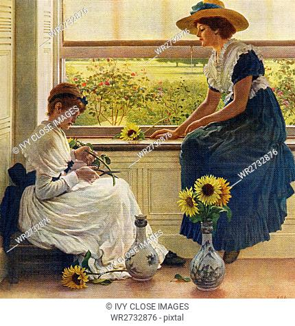 This painting, titled Sun and Moon Flowers, is by the English artist George Dunlop Leslie (1835-1921). Dunlop was especially successful in interpreting innocent...