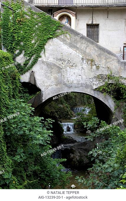 View of the river that supplied the local paper mills, Valley of the Mills, Amalfi, Amalfi Coast, Campania, Italy