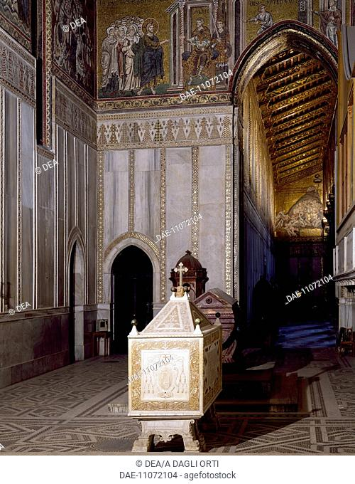 View of the transept right side with the Royal Tombs, Cathedral dedicated to Santa Maria Nuova, Monreale, Sicily. Italy, 12th century