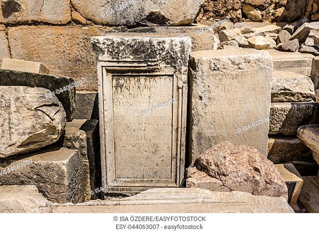 Ancient scripture on marble Ruins in Ephesus historical ancient city, in Selcuk,Izmir,Turkey