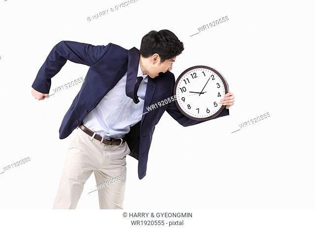 a business man jumping
