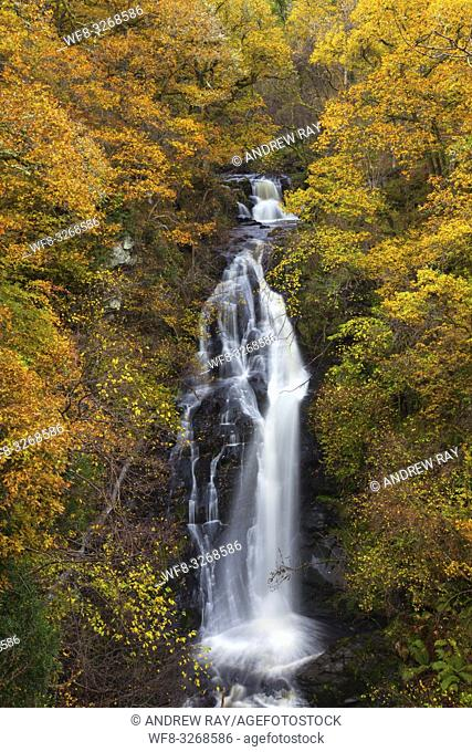 Black Spout Waterfall near Pitlochry in Perthshire, captured from the viewing platform on an afternoon in late October