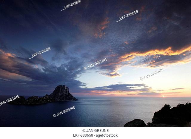 View from Ibiza to Es Vedra and Es Vedranell, Balearic Islands, Spain