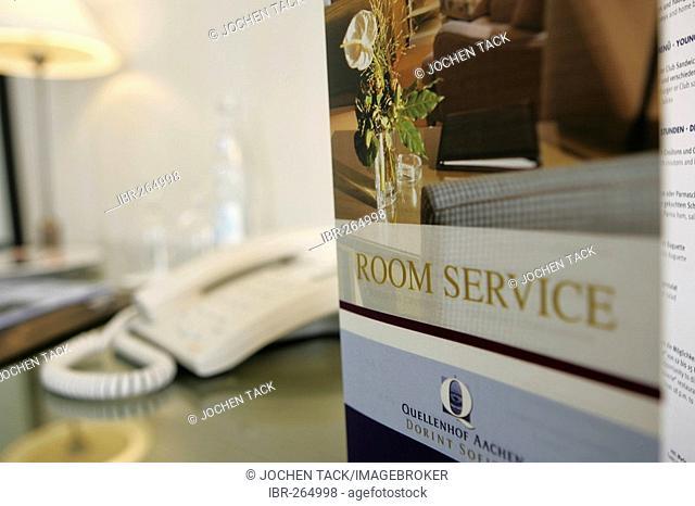 Room service menue in the hotel Sofitel Aachen Quellenhof, Aachen, North Rhine-Westphalia, Germany