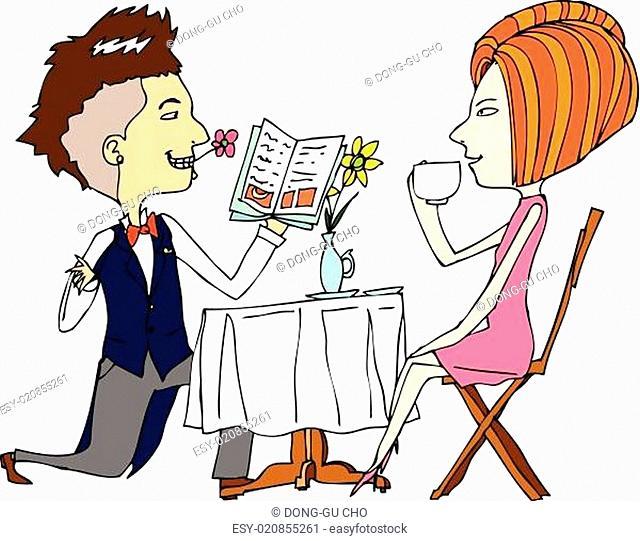 portrait of couple in café