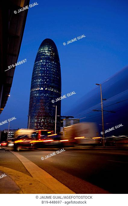 Jean Nouvel's Agbar Tower at nigth, Barcelona. Catalonia, Spain