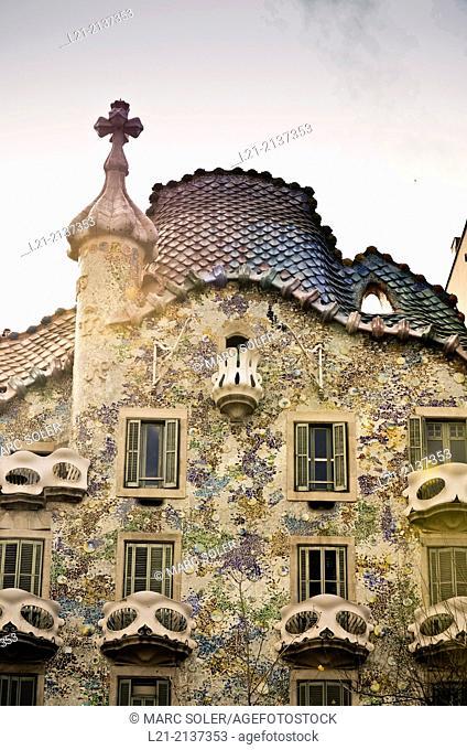 Batlló House by Antoni Gaudí architect 1904-1906. Barcelona, Catalonia, Spain