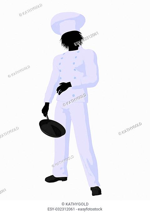 Male chef with a skillet silhouette on a white background