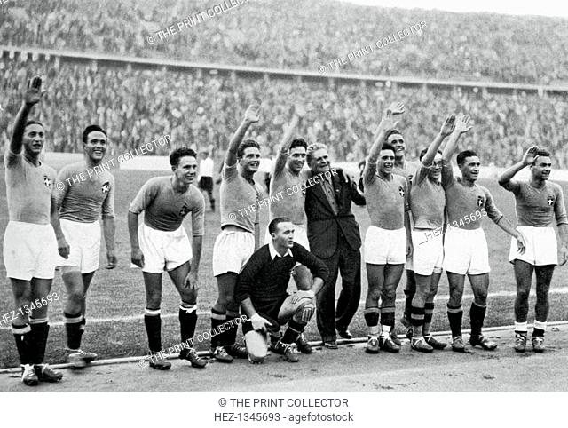Italian national football team, Berlin Olympics, 1936. Italy won the gold medal, beating Austria in the final. A print from Olympia 1936