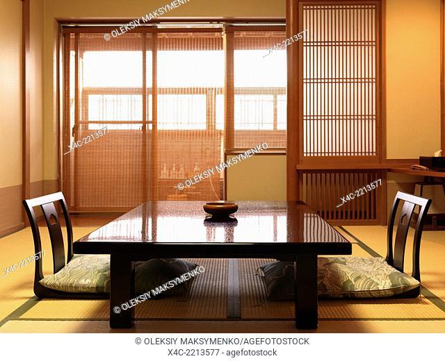 Chabudai tea table and zaisu legless chairs at traditional Japanese room of ryokan hotel
