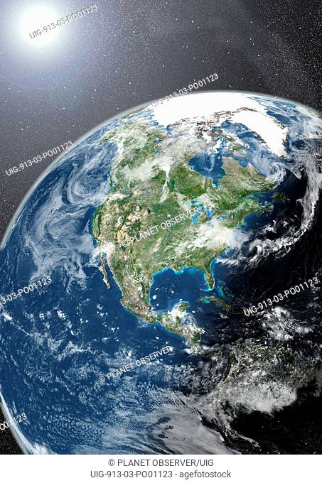 Globe Showing Northern America, True Colour Satellite Image. True colour satellite image of the Earth showing North America, half in shadow, with cloud coverage