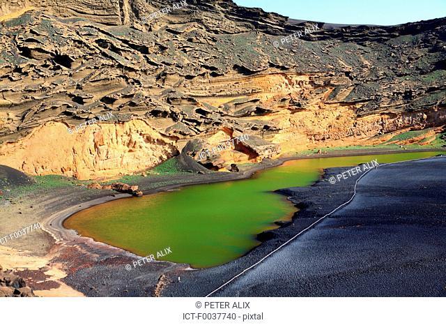 Spain, Canary islands, Lanzarote, El Golfo, green lake