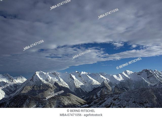 View of Pleisenspitze from the south in winter, Karwendel mountains, Tirol, Austria
