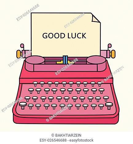 good luck type writer thin line style illustration vector