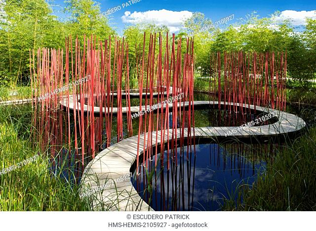 France, Loir et Cher, Loire Valley listed as World Heritage by UNESCO, Yu Kongijian garden in the Pres du Goualoup