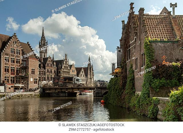Spring day in Ghent old town, Flanders, Belgium