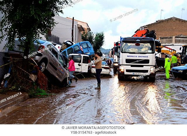 Flood in Sant Llorenç des Cardassar, Balearic islands, Spain, October, 9, 2018