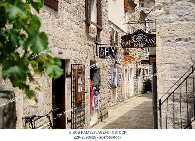 Street in Budva old antic city in Europe