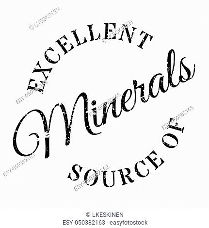 Excellent source of minerals stamp. Grunge design with dust scratches. Effects can be easily removed for a clean, crisp look. Color is easily changed