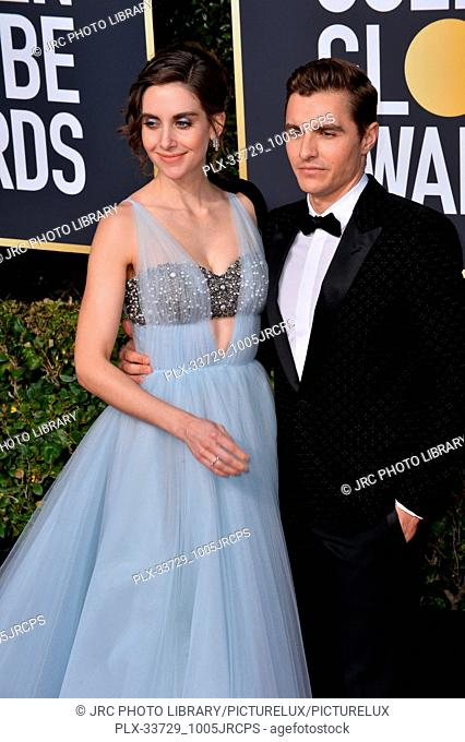 LOS ANGELES, CA. January 06, 2019: Alison Brie & Dave Franco at the 2019 Golden Globe Awards at the Beverly Hilton Hotel