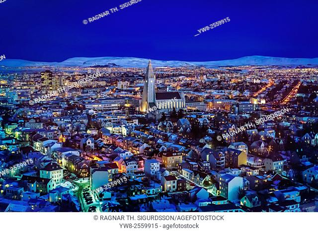 Aerial of Reykjavik, Iceland