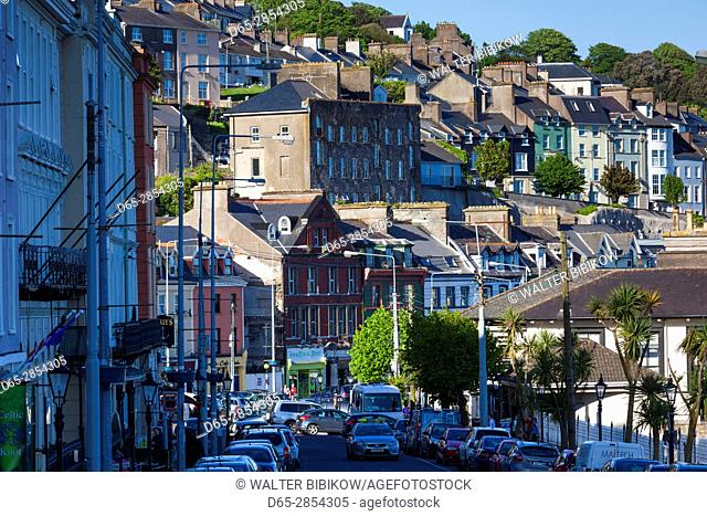 Ireland, County Cork, Cobh, elevated town view
