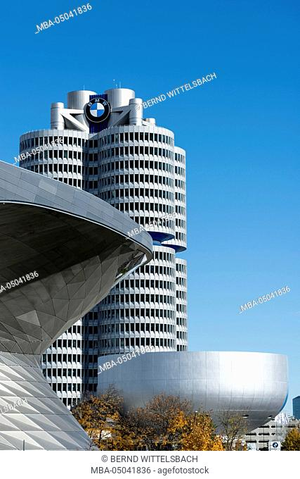 Munich, Bavaria, Germany, view to the BMW Welt, museum and tower