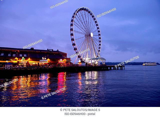 Ferris wheel on dock, Seattle, USA