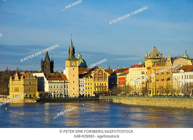 Riverside Vltava with Smetana Museum and old town in Prague Czech Republic
