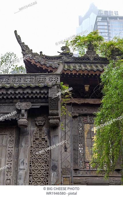 Ornate roof of Luohan Si Arhat Temple, Chongqing, China