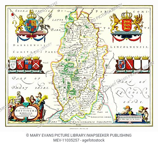 Map of Nottinghamshire by Johan Blaeu