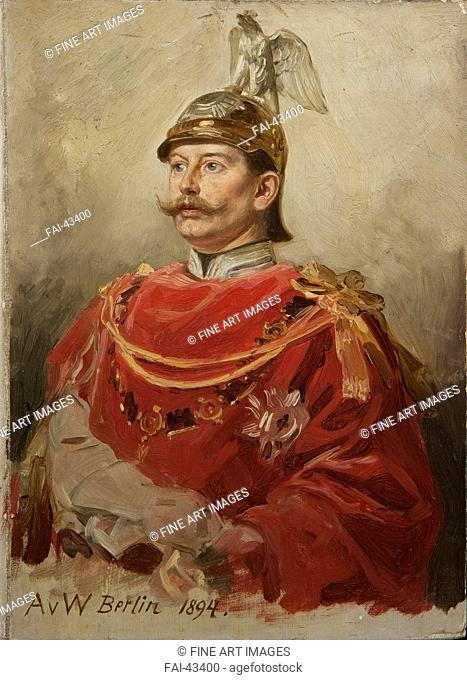 Portrait of German Emperor Wilhelm II (1859-1941), King of Prussia by Werner, Anton von (1843-1915)/Oil on cardboard/Academic art/1894/Germany/Private...