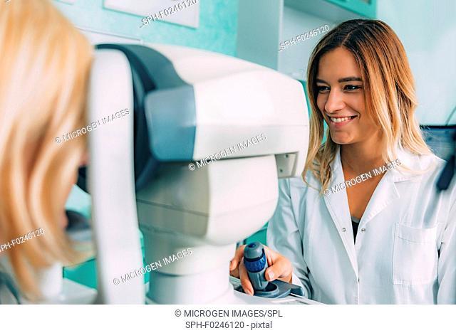 Ophthalmology. Auto refractometer eye examination