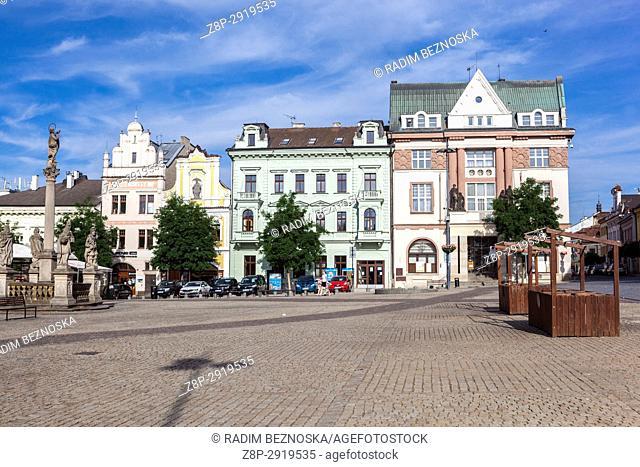 Houses on main square, Kolin, Central Bohemia, Czech Republic, Europe