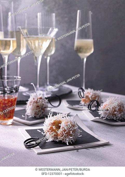 Exploded shrimp balls with glass noodles and spicy ginger sauce