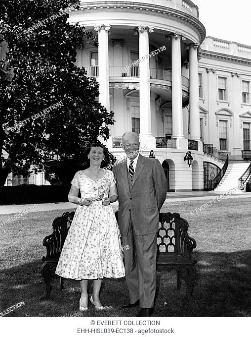 Dwight and Mamie Eisenhower on White House Lawn. Ca. 1953-1960 - (BSLOC-2014-16-85)