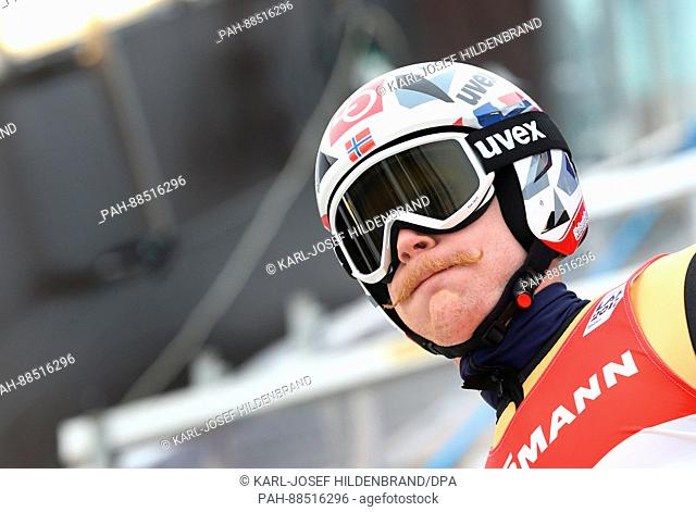 Daniel Andre Tande from Norway prepares for his jump during the training for the men's large hill event at the Nordic Ski World Championship in Lahti, Finland