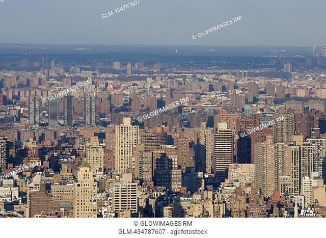 High angle view of a city, Manhattan, New York City, New York State, USA