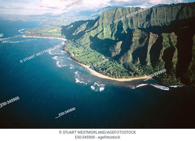 Aerial view of Haena State Park. Kauai. Hawaii