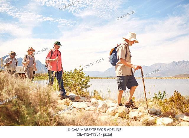 Active senior friends hiking along sunny summer lake