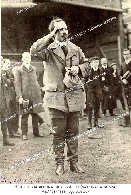 Samuel Franklin Cody saluting while the National Anthem was being played when he became a naturalised Englishman. Doncaster 1909