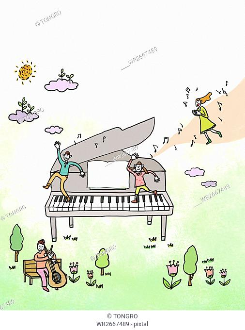 Line illustration representing music education