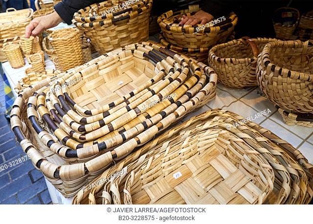 Craft baskets, folklore fair of Santo Tomas, Donostia, San Sebastian, Gipuzkoa, Basque Country, Spain, Europe