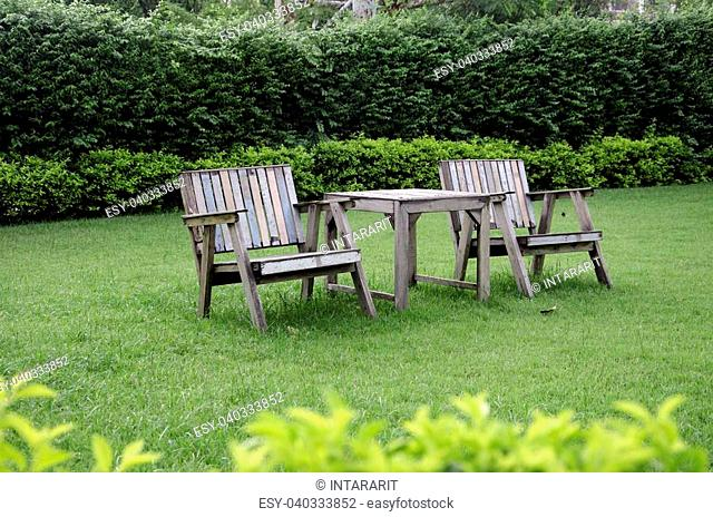 Wooden chairs in the lawn