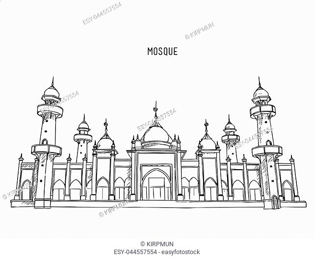 Muslim mosque ,Traditional arabesque ornament, crescent and stars. Vector Illustration. Eid Mubarak greetings. Ramadan Kareem.hand draw sketch vector