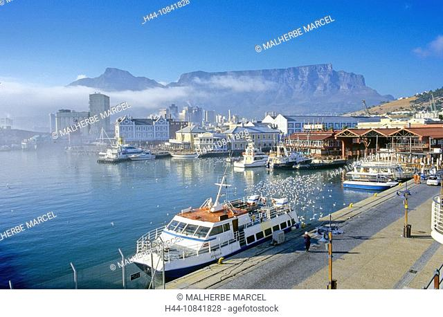 South Africa, Cape Town, Victoria, Alfred Waterfront, harbor, harbor, Table Mountain, African, Capetown, coast, sea, s