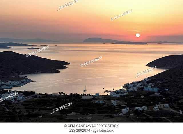 View to the Amorgos harbor Katapola from above, Amorgos, Cyclades Islands, Greek Islands, Greece, Europe